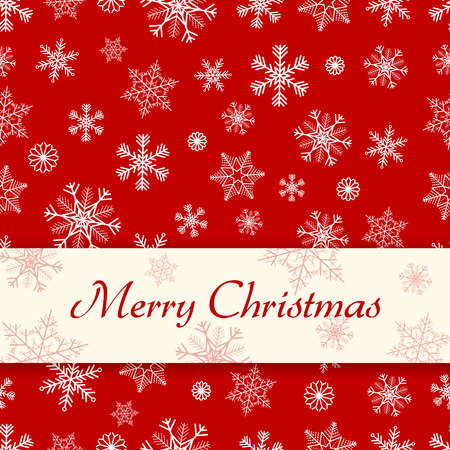 Simple red Christmas card with seamles snowflake pattern as background