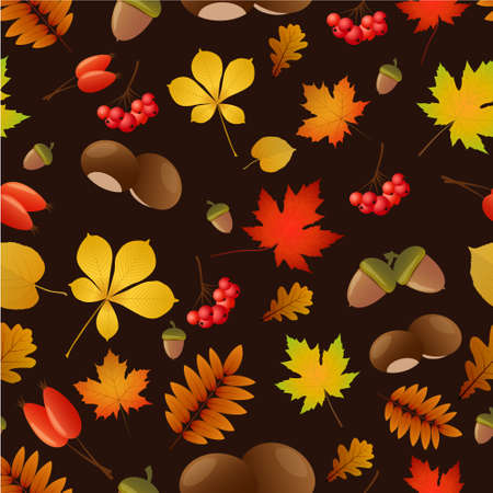 Autumnal seamless background with autumn elements on dark brown background