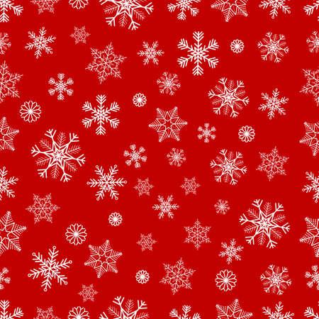 schneeflocke: Winter-nahtlose Hintergrund mit wei�en Schneeflocken auf rotem Hintergrund