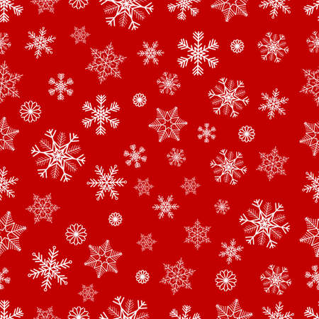 Winter seamless background with white snowflakes on red background