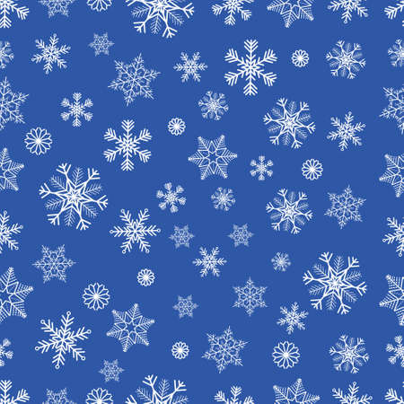 Winter seamless background with white snowflakes on blue background