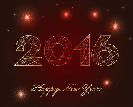 Happy New Year 2016 golden shine on red background