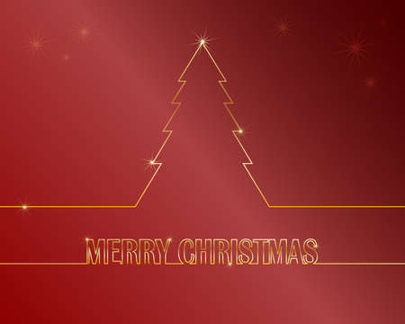 Red simple christmas card - gold line on red background