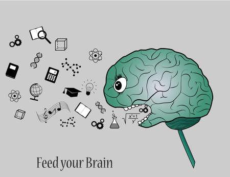 Feed your brain with knowledge. Simple illustration of brain eating symbols of knowledge. Ilustração
