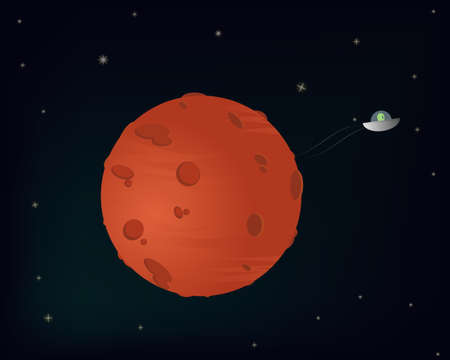 space cartoon: Illustration of planet mars with small alien driving spaceship