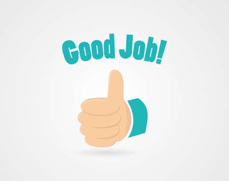 """puesto de trabajo: Sencillo alentadora ilustración - contiene palabras """"buen trabajo"""" y el pulgar arriba Vectores"""