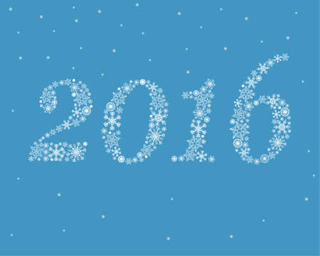 Happy New Year 2016 snowflakes on blue background Ilustração