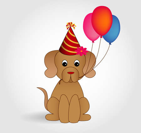 Cartoon dog character wishing happy birthday Ilustração