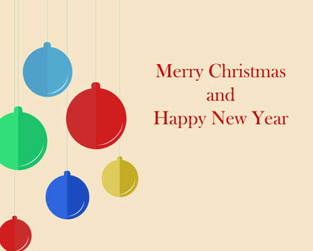Simple Christmas card in retro style with flat christmas balls Ilustração