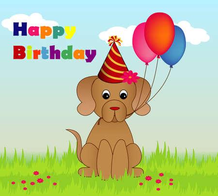 Happy birthay illustration of dog with balloons