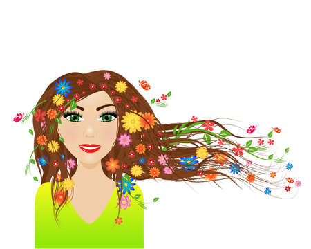 Spring season - female character with spring in her hair