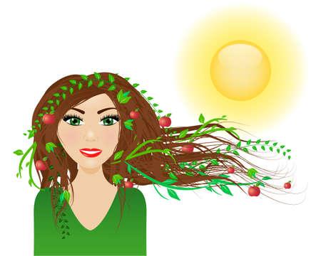 Summer season - female character with summer in her hair Ilustração