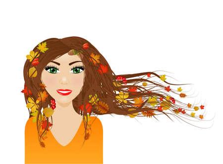 autumn woman: Autumn season - female character with autumn in her hair