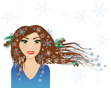 Winter season - female character with snowflakes in her hair