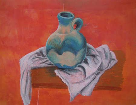 Still life art - colorful vase on orangered background - pastel crayons technique