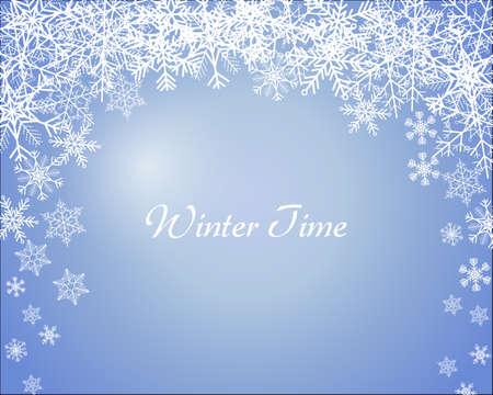 Winter time blue background with snowflakes Ilustração