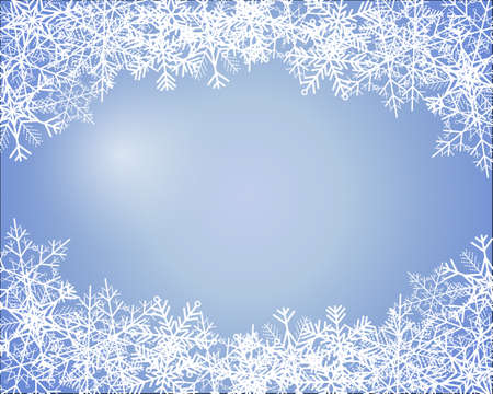Simple blue winter background with snowflakes