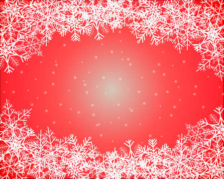 Simple red winter background with snowflakes