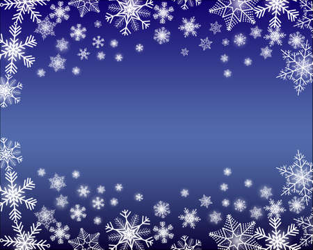 Simple blue winter background with snowflakes - text can be added in the middle