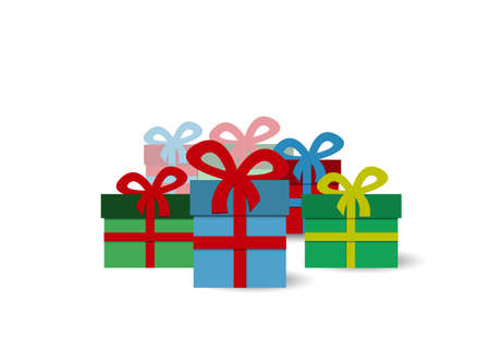 simple: Simple background with colorful presents - text can be added Illustration