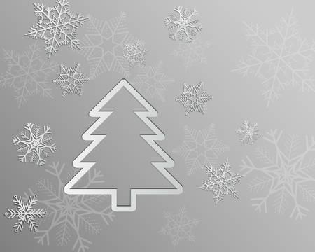Silver christmas card with snowflakes and christmas tree Ilustração