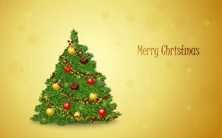 Christmas card with christmas tree on gold background