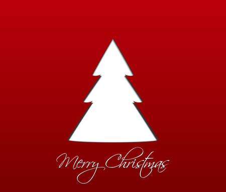 Simple red christmas card with white christmas tree Ilustração