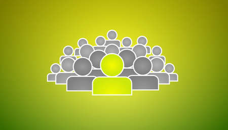 Stand out of crowd and be special - illustration on green background
