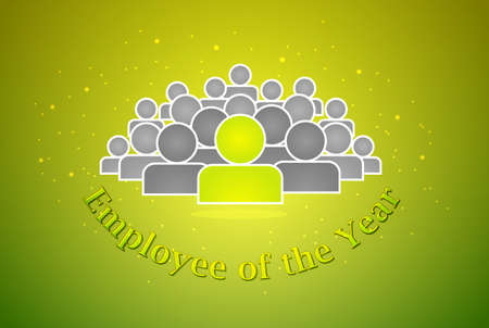 best employee: The best employee of the year award on green bacground