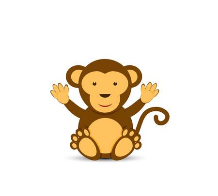 Simple cartoon character of cute monkey