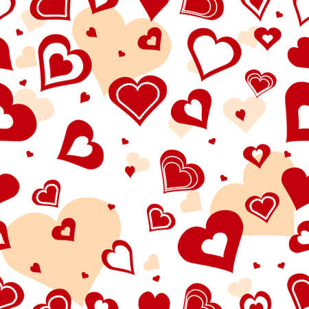 Seamless romantic background with hearts