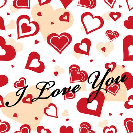 """Seamles romantick background wiht hearts and text saying """"I love you"""" Vektorové ilustrace"""