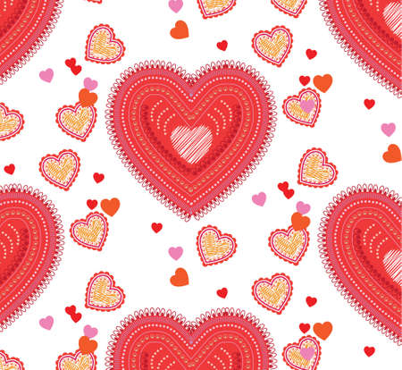 Paisley style inspired seamless background with hearts
