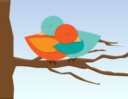Two birds in hug illustration of love