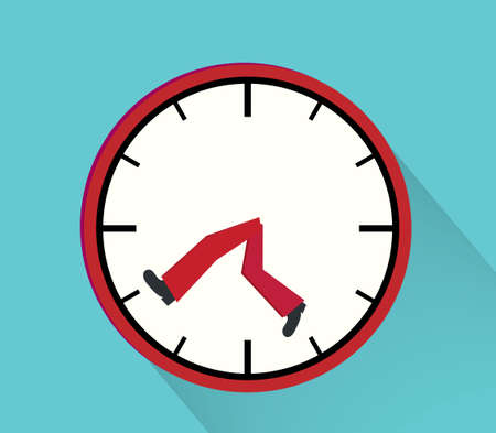 Time management illustration with clock and legs running