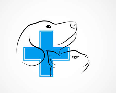 veterinary symbol: Veterinary symbol with cats and dogs face and blue cross as symbol of health care