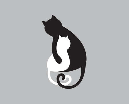 Simple icon of mother cat and baby kitty - represents mothers love