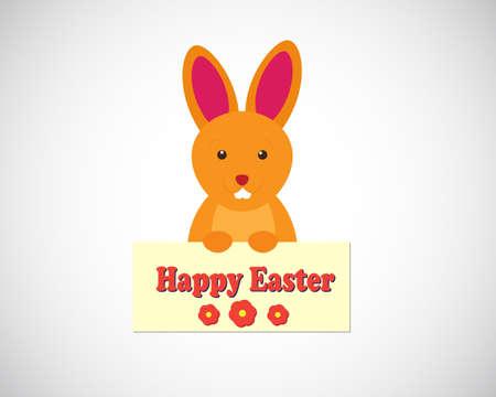Cartoon illustration of bunny wishing Happy Easter! Ilustração