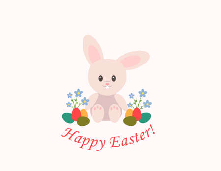 Easter bunny illustration with easter eggs and flowers