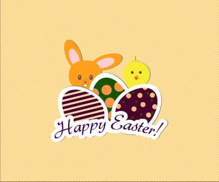 Happy easter card with simple easter eggs, little yellow chicken and cute bunny Ilustração