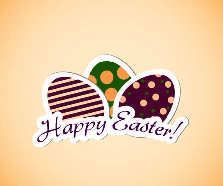 Happy easter illustration with simple egg labels