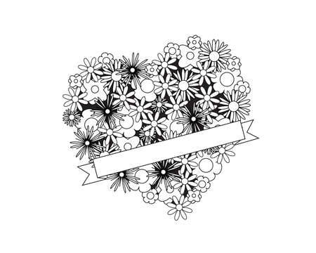 Coloring page for adult od kids. Simple floral heart with ribbon - place for your text