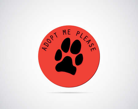 rescue: Adopt an animal badge with dogs paw print