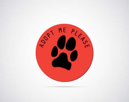 Adopter un badge d'animaux avec des chiens d'impression de patte