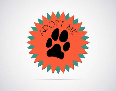 Adopt an animal label with dogs paw print