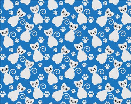 Seamles pattern with cats on blue background Ilustração