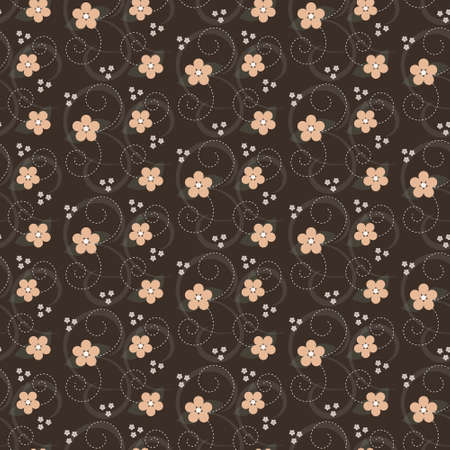 Seamles floral pattern with simple flowers on brown background