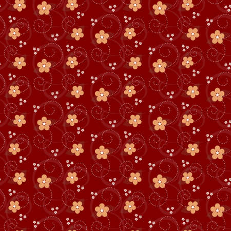 Seamles floral pattern with simple flowers on red background Ilustração