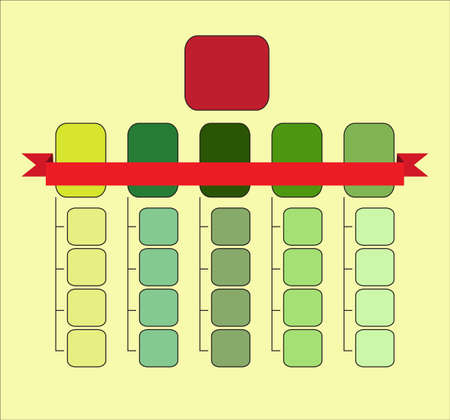 Organizational structure colourful template with red ribbon
