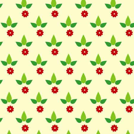 Simple floral pattern with green leaves and red flowers